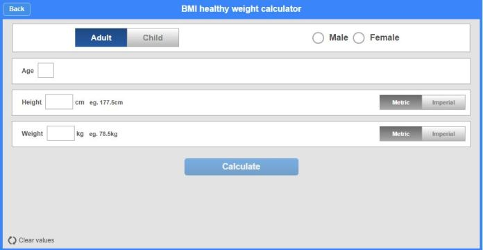 BMI Healthy Weight Calculator 2